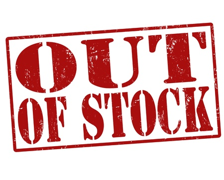 out of order: Out of Stock grunge rubber stamp over a white background, illustration Illustration