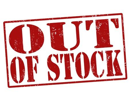 gamme de produit: Rupture de stock tampon en caoutchouc grunge sur un fond blanc, illustration Illustration