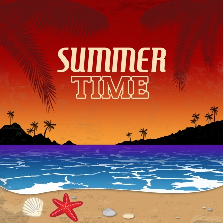 Tropical beach at sunset in retro style  Vintage Summer Time poster, illustration Stock Vector - 21215753