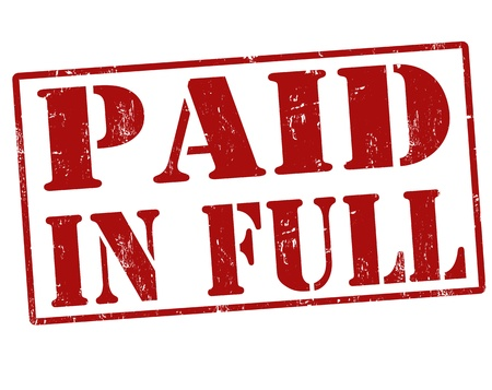 Paid in Full red Grunge Stempel über einen weißen Hintergrund, Illustration Standard-Bild - 21215757