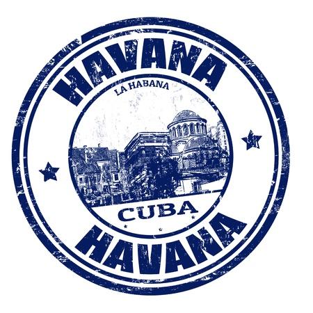 하바나의 이름 안에 기록 된 쿠바의 수도, 그림 블루 그런 지 고무 스탬프 일러스트