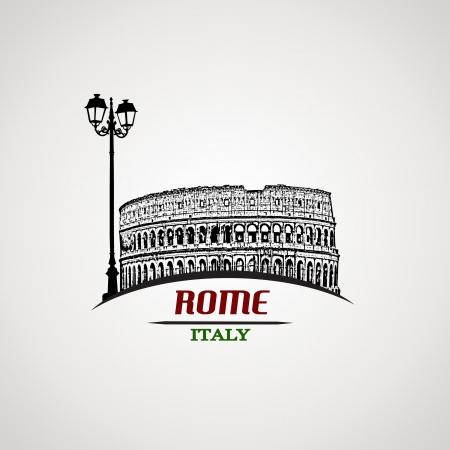 ビンテージ スタイルのポスター、イラストでローマ