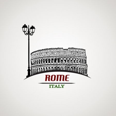 colosseo: Roma in stile vintage poster, illustrazione