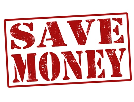 heap of dollar: Save Money grunge rubber stamp over a white background, illustration