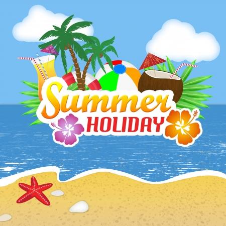 cocotier: Beach Party fond d'affiche avec des feuilles de palmier et des cocktails sur une belle plage, illustration