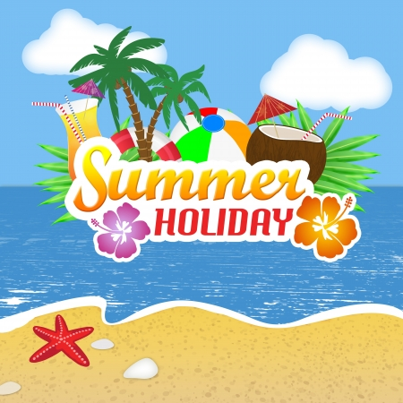 Beach Party poster background with palm leaves and cocktails over a beautiful beach, illustration Vector