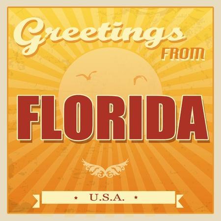 Vintage Touristic Greeting Card -Florida, United States of America, illustration Vector