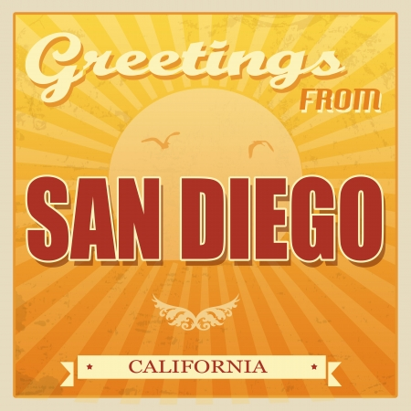 san diego: Vintage Touristic Greeting Card -San Diego, California, illustration