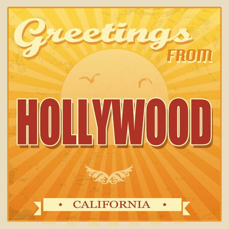 Vintage Touristic Greeting Card - Hollywood, California, vector illustration Vector