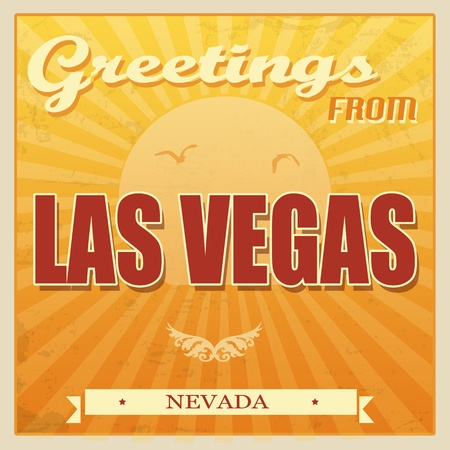 Vintage Touristic Greeting Card - Las Vegas, Nevada, vector illustration Vector