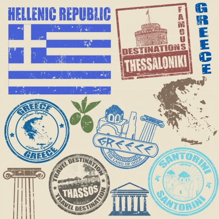 Set of grunge stamps with Greece on vintage background, vector illustration Stock Vector - 21313884