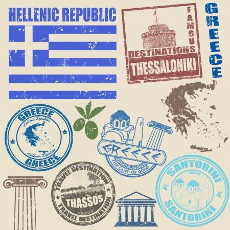 Set van grunge postzegels met Griekenland op vintage achtergrond, vector illustratie