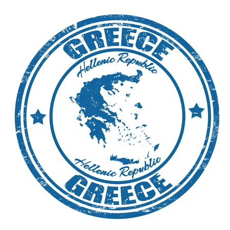 greece: Grunge rubber stamp with the name and map of Greece, vector illustration