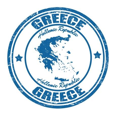 pasaportes: Grunge sello de goma con el nombre y el mapa de Grecia, ilustraci�n vectorial Vectores