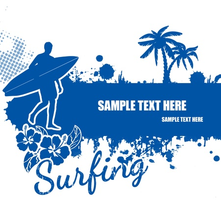 surfer vector: Surfing grunge scene with surfer and palms on white, vector illustration