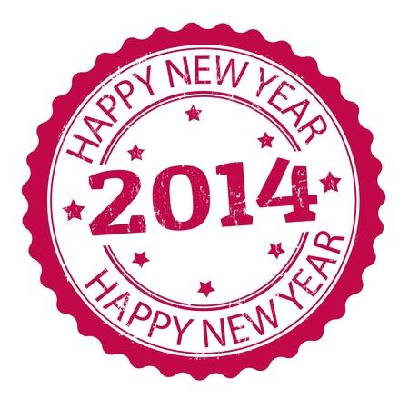happy new year stamp: Feliz a�o nuevo 2014 grunge sello de goma, ilustraci�n vectorial