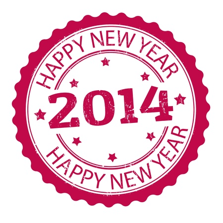 Happy new year 2014 grunge rubber stamp, vector illustration Vector
