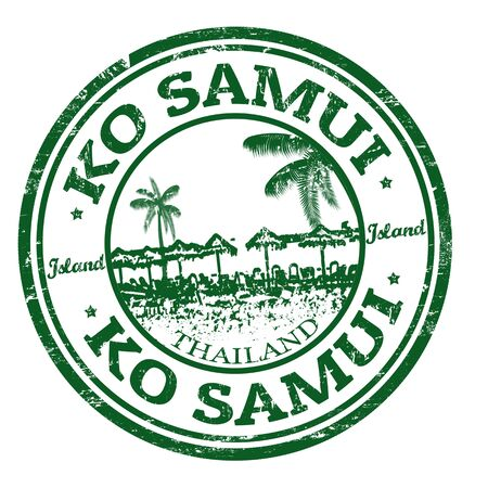 samui: Green grunge rubber stamp with the name of Ko Samui island from Thailand, vector illustratgion Illustration