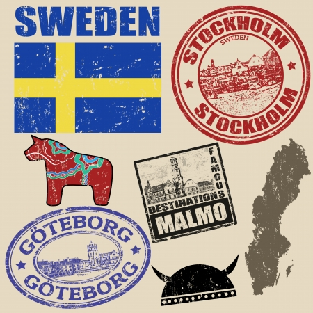 sweden flag: Set of grunge stamps with Sweden on vintage background, vector illustration Illustration