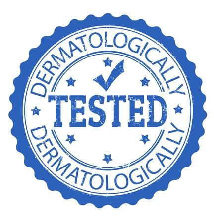 Bleu tampon en caoutchouc grunge avec le texte écrit à l'intérieur testé dermatologiquement, illustration