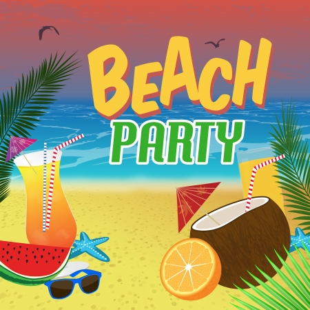 coconut drink: Beach Party poster background with palm leaves and cocktails over a beautiful beach, vector illustration Illustration