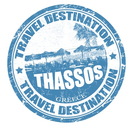 thassos: Grunge rubber stamp with the Thassos island written inside, vector illustration