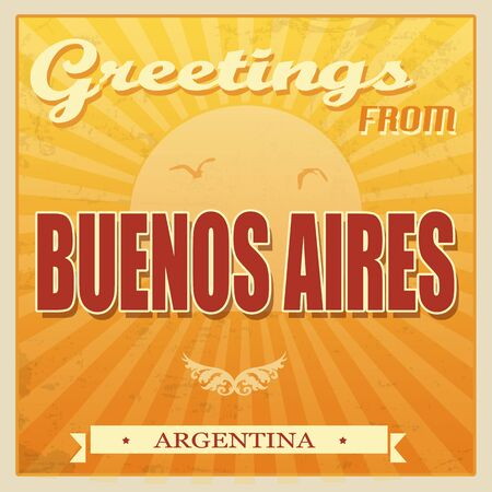 aires: Vintage Touristic Greeting Card - Buenos Aires, Argentina, vector illustration Illustration