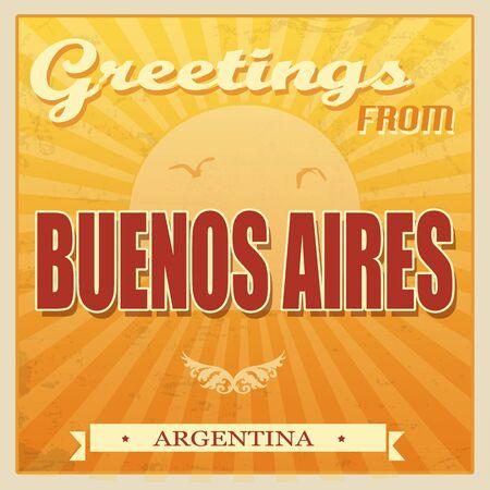 buenos aires: Weinlese Touristische Karte - Buenos Aires, Argentinien, Vektor-Illustration Illustration