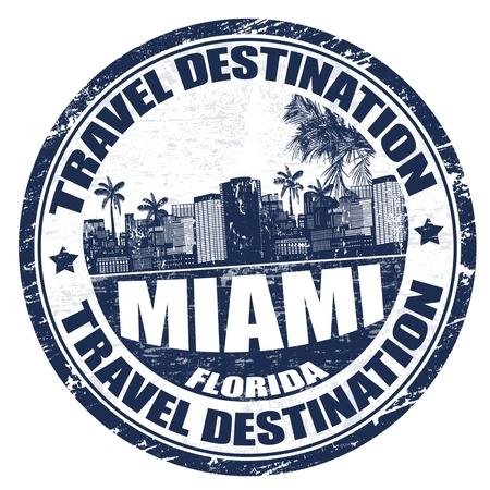Tampon en caoutchouc grunge avec le nom de la ville de Miami en Floride du sud-est écrit à l'intérieur, illustration vectorielle