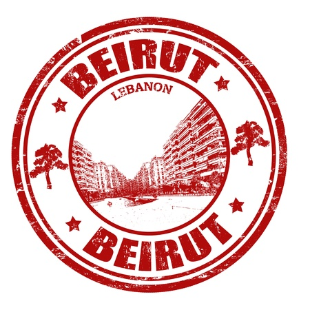 Red grunge rubber stamp with the name of Beirut city the capital of Lebanon Stock Vector - 21313904