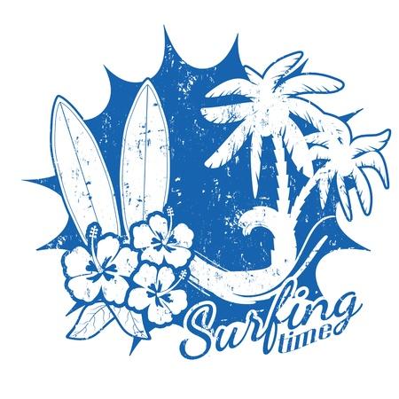 tabla de surf: Grunge Surf time escena con la tabla de surf, olas, palmeras y flores de hibisco, ilustración vectorial Vectores