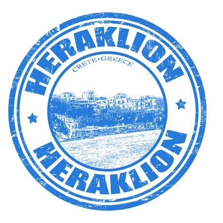 Grunge rubber stamp with the Heraklion city of Crete island written inside, vector illustration