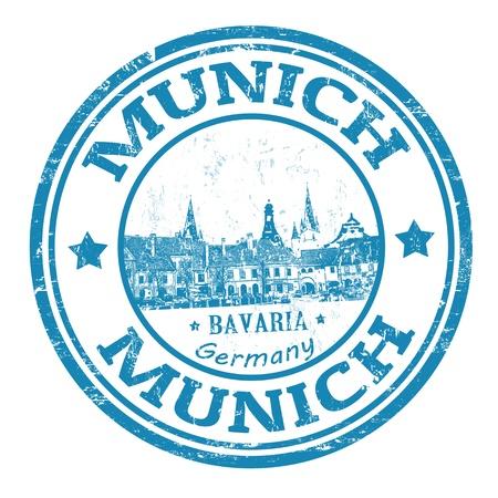 뮌헨: 뮌헨의 이름 독일, 벡터 일러스트 레이 션에서 바바리아의 수도 인 블루 그런 지 도장
