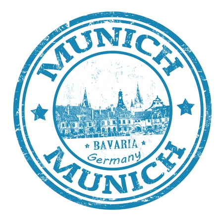 Blue grunge rubber stamp with the name of Munich the capital city of Bavaria from Germany, vector illustration