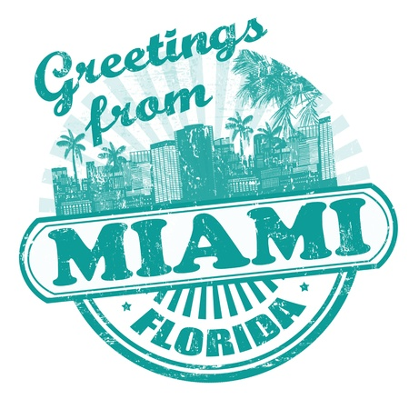 word art: Grunge rubber stamp with text Greetings from Miami, vector illustration