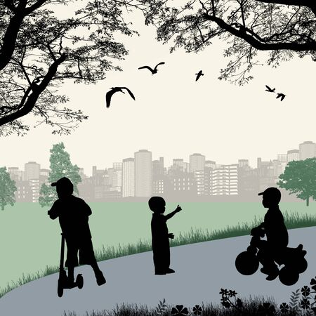 Children playing in a city park, vector illustration Vector