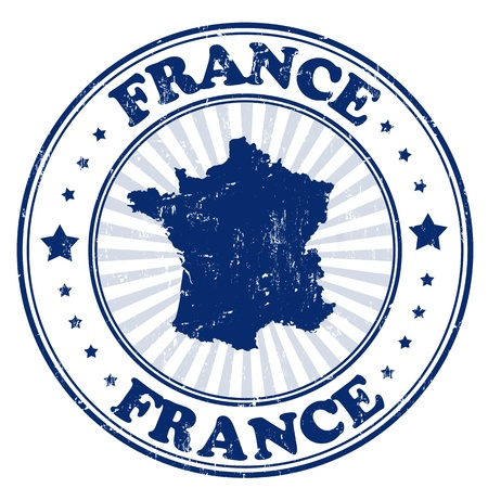 grunge stamp: Grunge rubber stamp with the name and map of France, vector illustration
