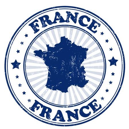 Grunge sello de goma con el nombre y el mapa de Francia, ilustración vectorial