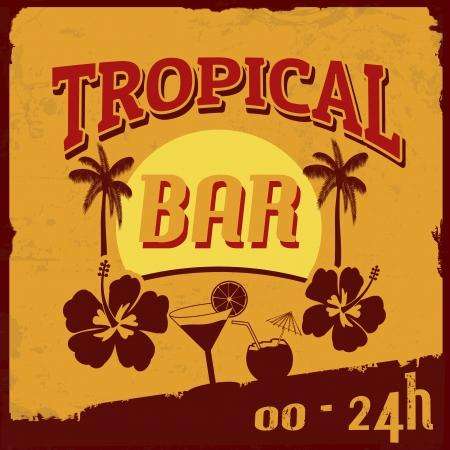 Cartel de época grunge bar Tropical, ilustración vectorial