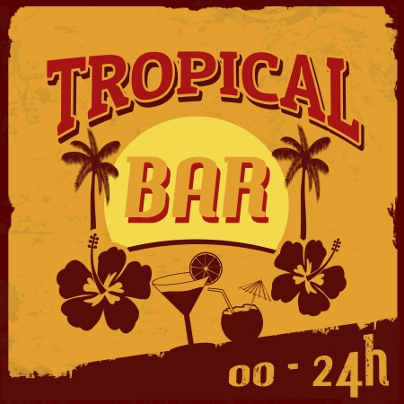 fruit bars: Tropical bar vintage grunge poster, vector illustration