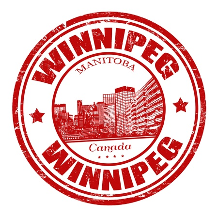 canada stamp: Red grunge rubber stamp with the name of Winnipeg city the largest city of Manitoba, Canada