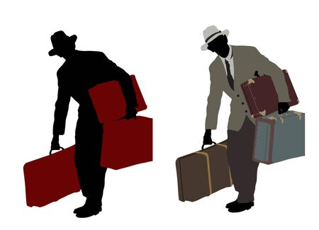 voyager: Two silhouette of a traveler carrying suitcases isolated on white background, vector illustration