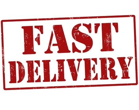 delivery: Grunge fast delivery rubber stamp, vector illustration Illustration