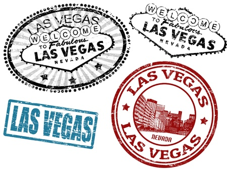 las vegas strip: Set of stylized grunge stamps of the Las Vegas, vector illustration Illustration