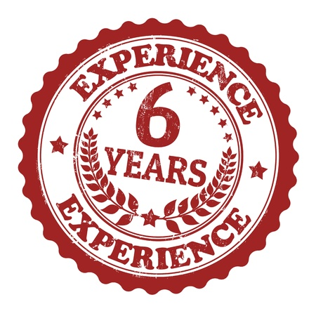6 years: Grunge rubber stamp with the text 6 Years Experience written inside, vector illustration