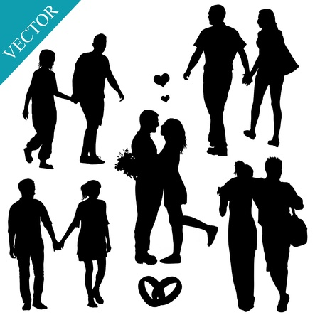 romantic: Romantic couples silhouettes on white background, vector illustration