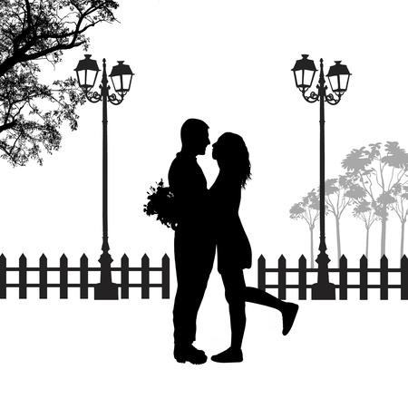 Het romantische paarsilhouet omhelst in liefde op mooi landschap, vectorillustratie