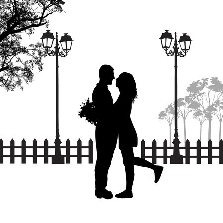 Romantisch paar silhouet omhelzing in liefde op mooie landschap, vector illustratie Stock Illustratie