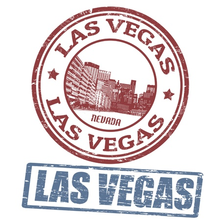vegas sign: Set of stylized grunge stamps of the Las Vegas, vector illustration Illustration
