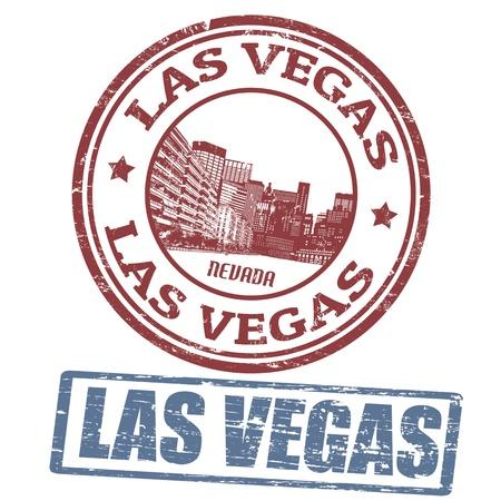 vegas strip: Set of stylized grunge stamps of the Las Vegas, vector illustration Illustration